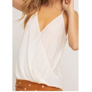 Lush cream/ivory Surplice Wrap Front Tank Top